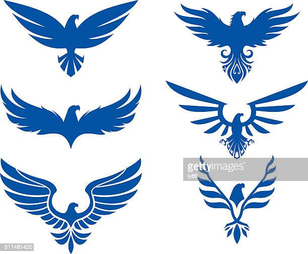 eagle design set - bald eagle stock illustrations