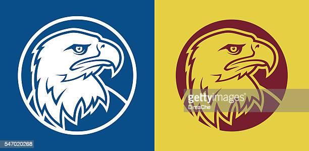eagle head mascot - falcon bird stock illustrations, clip art, cartoons, & icons