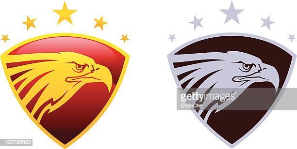 eagle head on shield with stars - falcon bird stock illustrations, clip art, cartoons, & icons