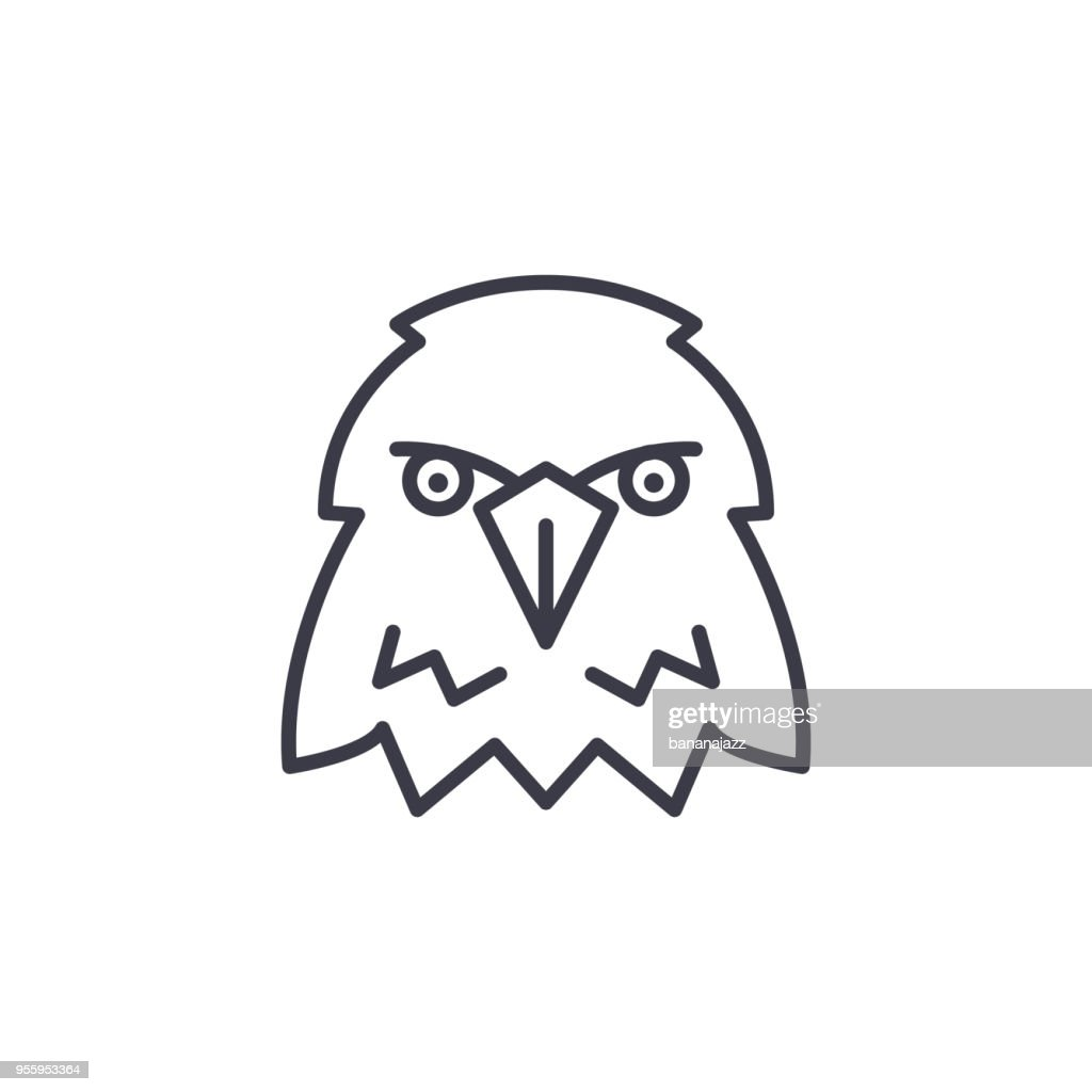 eagle head vector line icon, sign, illustration on background, editable strokes