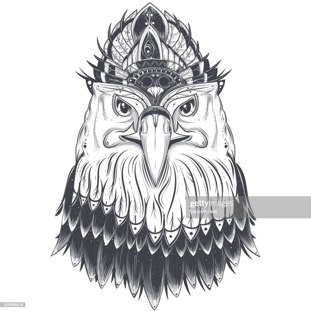 Eagle head with feather comb