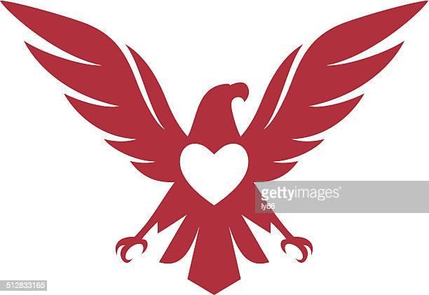 eagle heart icon - animal heart stock illustrations, clip art, cartoons, & icons