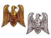 Eagle heraldic symbol. Sketch and gold bird