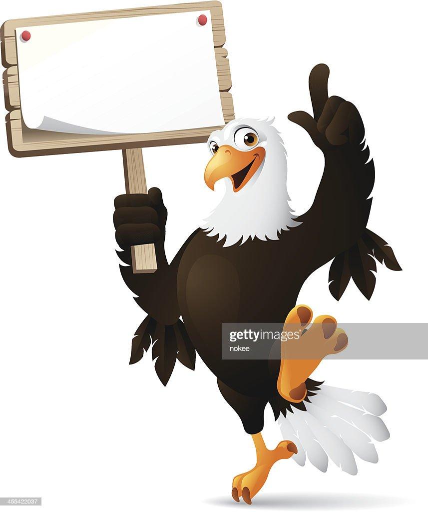 Eagle holding sign