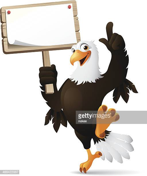 eagle holding sign - eagle bird stock illustrations