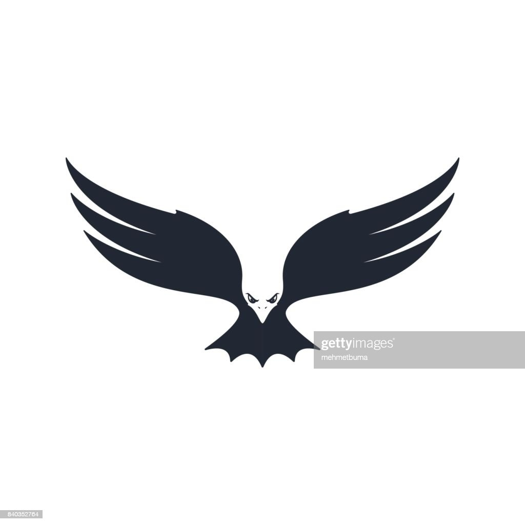 Eagle hunting, negative space, vector illustration