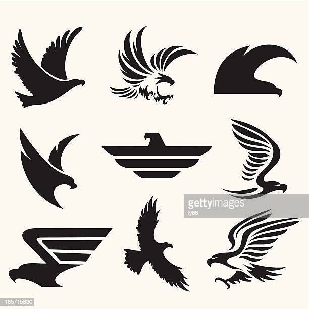 eagle icons - eagle bird stock illustrations, clip art, cartoons, & icons