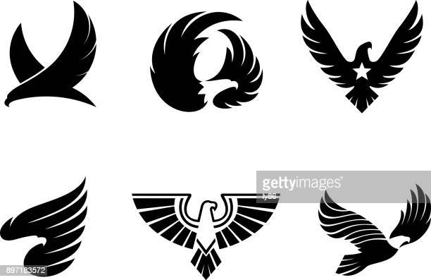 eagle icons - flying stock illustrations