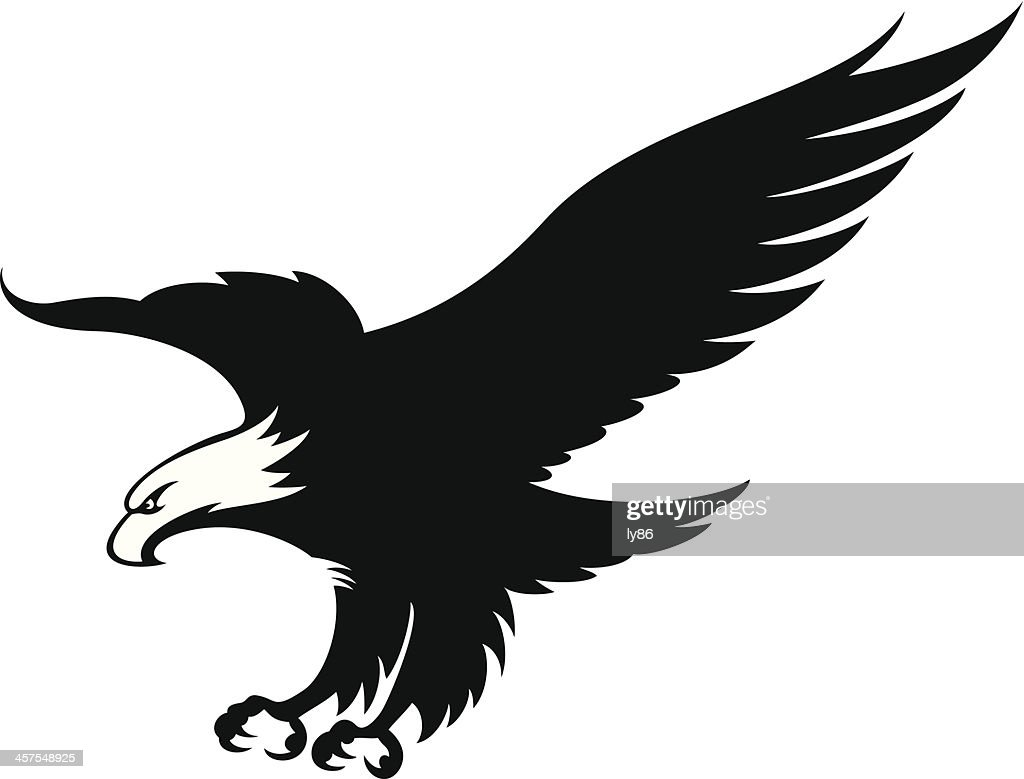 Eagle in black and white mascot
