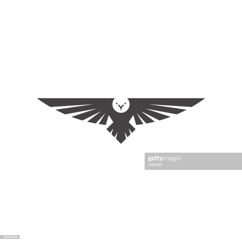 Eagle logo, silhouette predator hawk bird wide wingspan floating in the air, flying animal tattoo emblem mockup