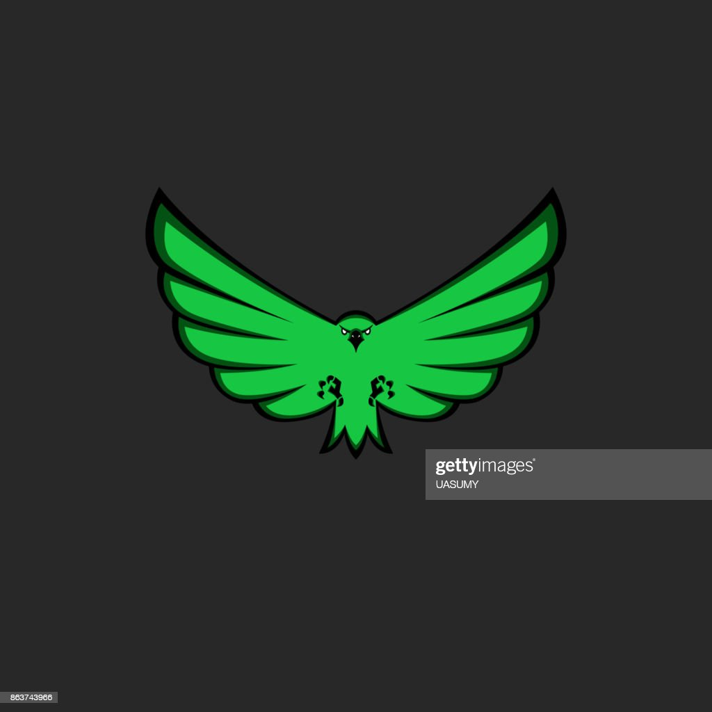 Eagle mascot emblem of green color for esport team, modern logo for print on T-shirt template, front view of bird with spread wings, paws and claws