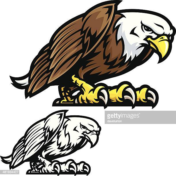 eagle mascot fight stance - fighting stance stock illustrations, clip art, cartoons, & icons