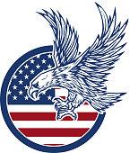 Eagle on american flag. Design element for  label, emblem, sign.