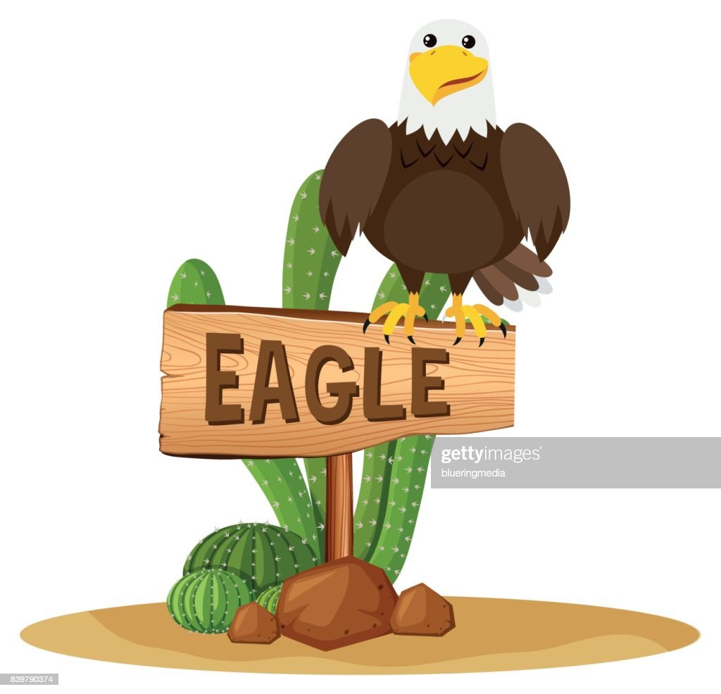 Eagle on wooden sign