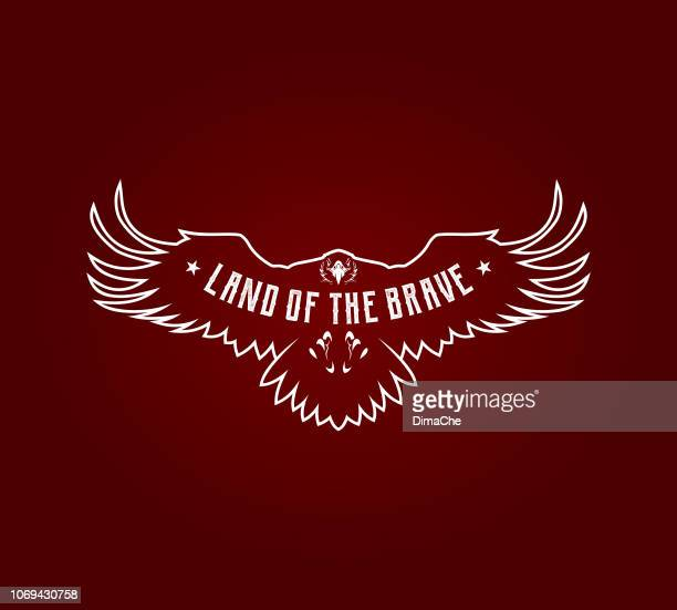 eagle outline silhouette with spread wings. vector bird of prey emblem with replaceable text part - spread wings stock illustrations