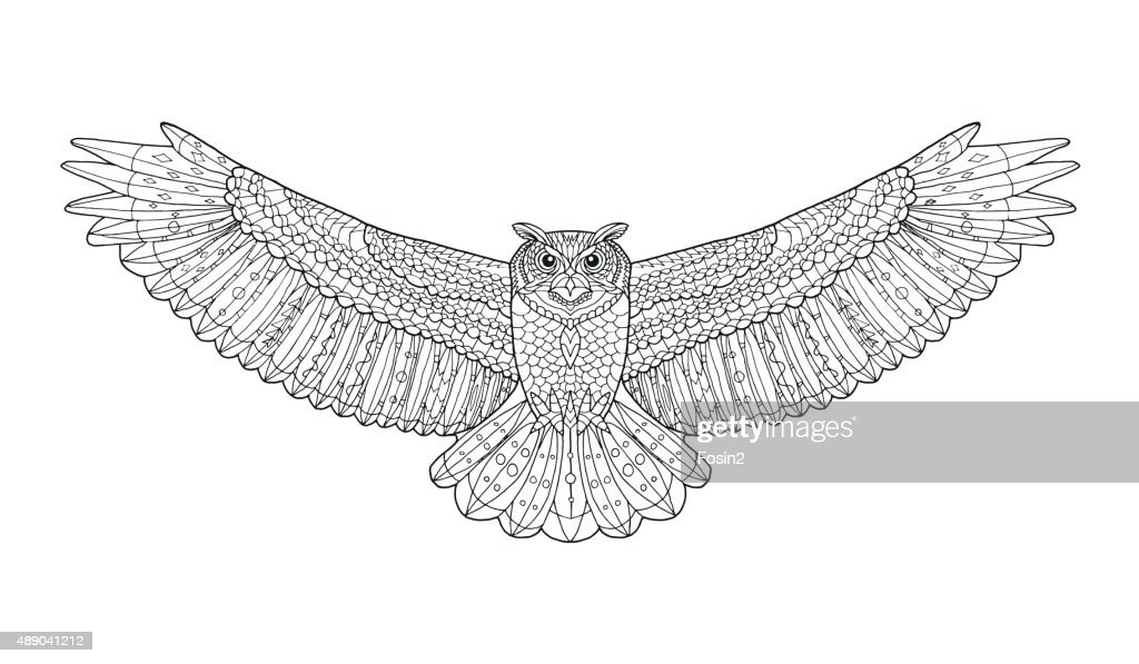 Eagle owl. Coloring page. Ethnic patterned vector illustration