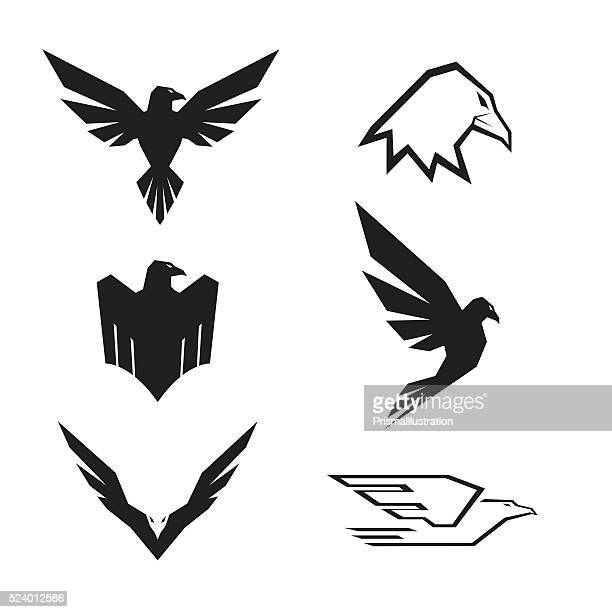 eagle-set - adler stock-grafiken, -clipart, -cartoons und -symbole