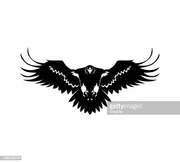 eagle silhouette with spread wings - talon stock illustrations, clip art, cartoons, & icons