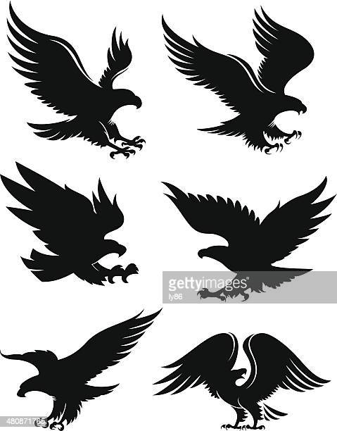 eagle silhouettes - eagle bird stock illustrations, clip art, cartoons, & icons