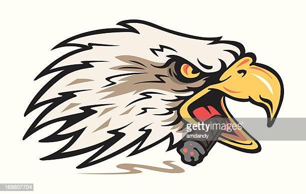 eagle smoking cigar - animal body part stock illustrations, clip art, cartoons, & icons