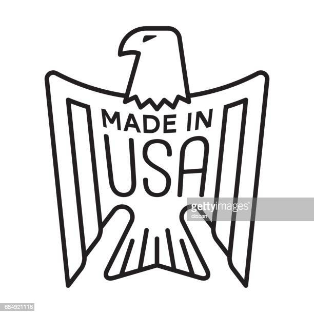 made in usa - eagle stamp - eagle bird stock illustrations, clip art, cartoons, & icons