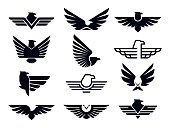 Eagle symbol. Silhouette flying eagles emblem, winged badge and freedom hawk wings stencil vector icons bundle