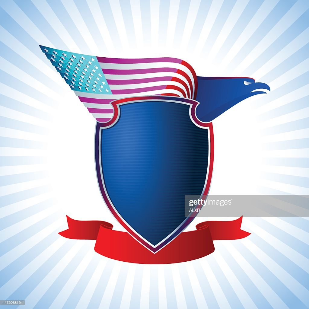 Eagle US Shield Flag Wing Flying Background Blue