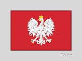 Eagle with a Crown. The National Emblem of Poland. National Ensign Aspect Ratio 2 to 3 on Gray Cardboard. Written in Polish