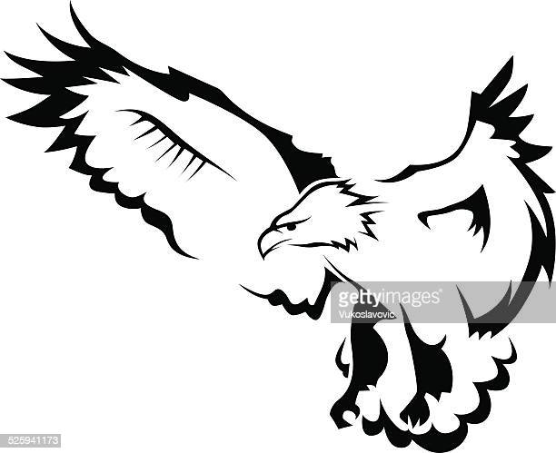eagle with open wings - falcon bird stock illustrations, clip art, cartoons, & icons