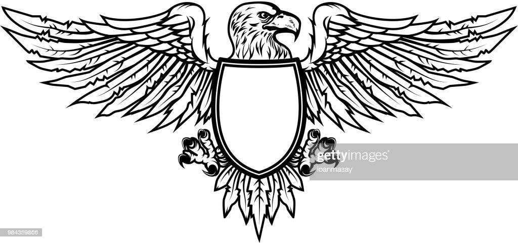 Eagle with shield. For emblem, sign, label, badge.