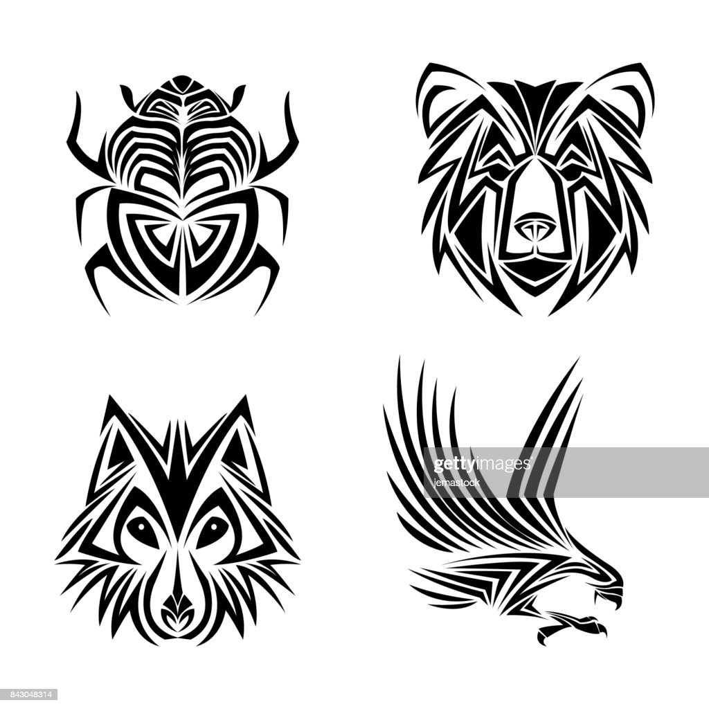 eagle wolf bear bug tattoo design