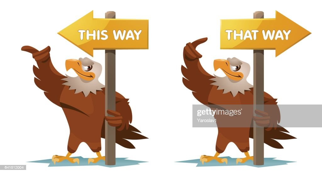 Eagles  holds an signpost.