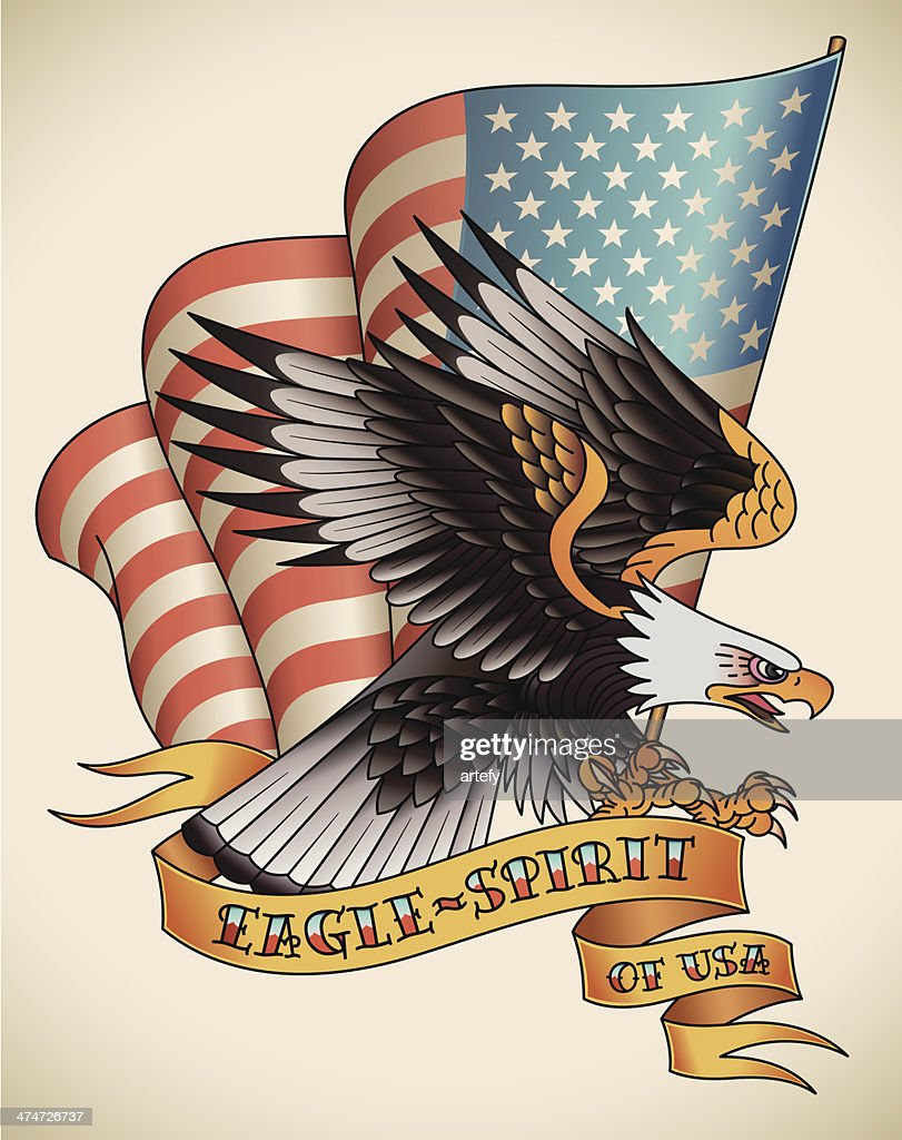 Eagle-spirit old-school tattoo