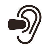 Ear and earplugs. Noise symbol