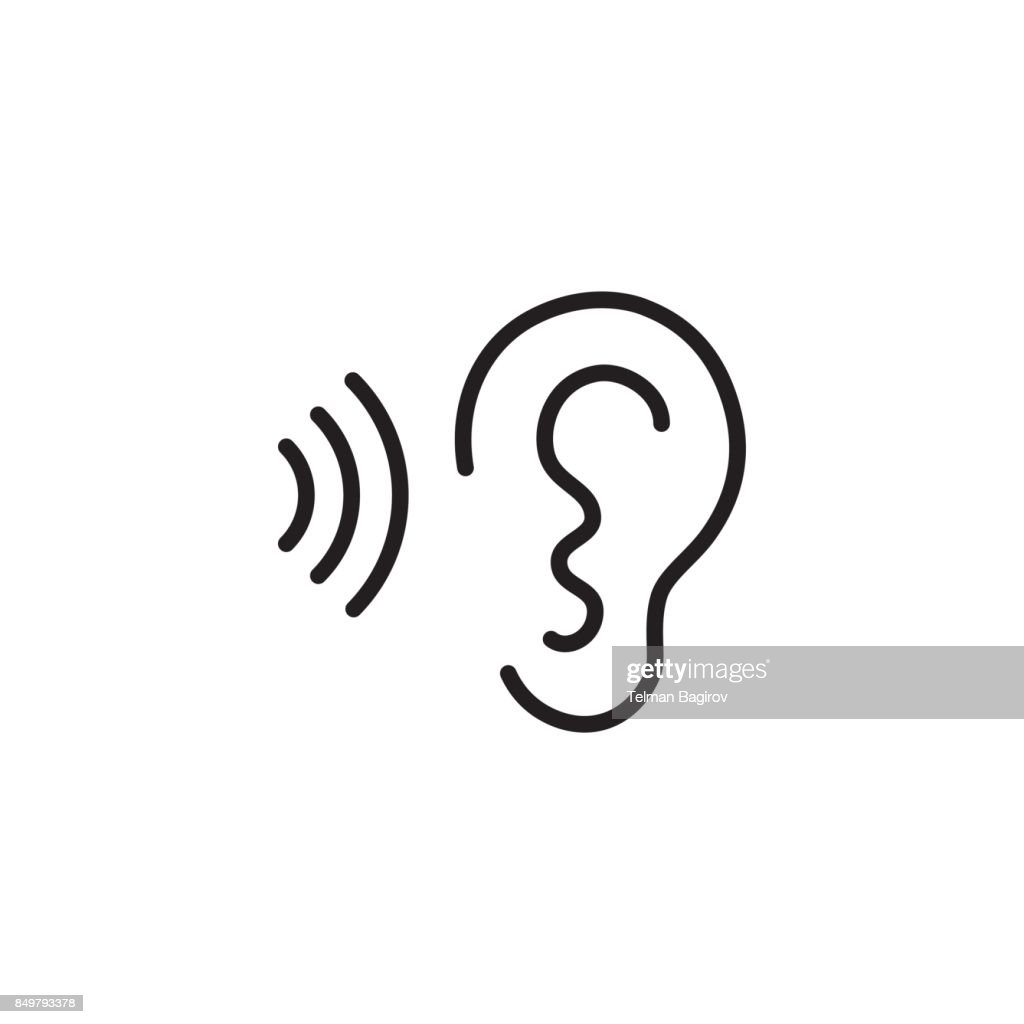 ear and sound wave black icon