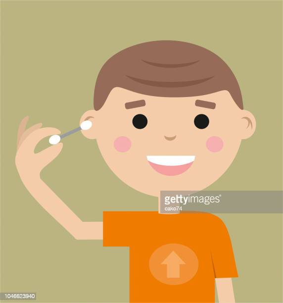 ear cleaning with cotton swab - hygiene stock illustrations