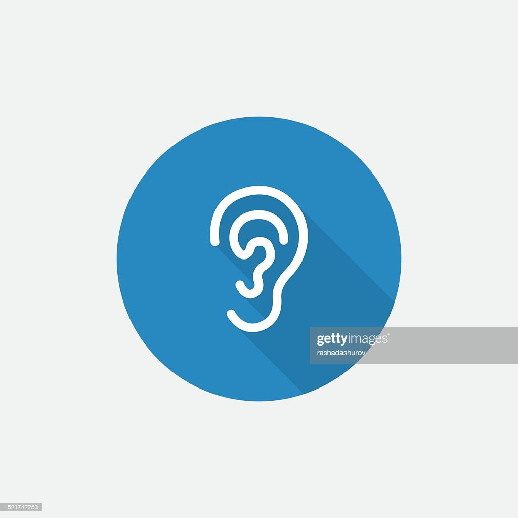 ear Flat Blue Simple Icon with long shadow