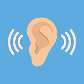 Ear listen vector icon on blue background. Ear vector icon. Listening vector icon.