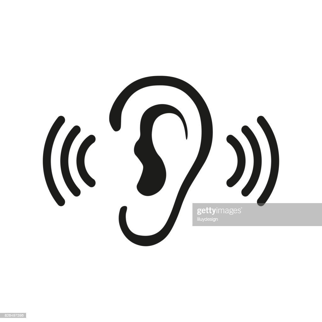 Ear Listening Hearing Audio Sound Waves vector icon