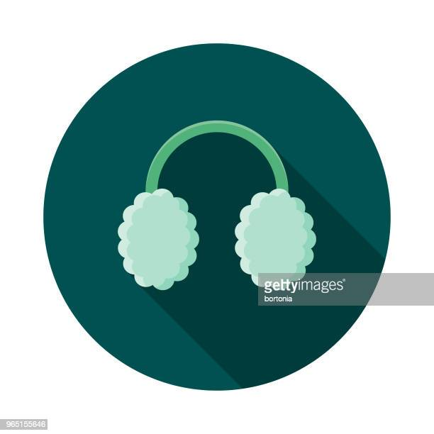 Ear Muffs Flat Design Winter Icon with Side Shadow