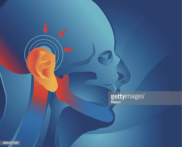 ear pain - human nose stock illustrations