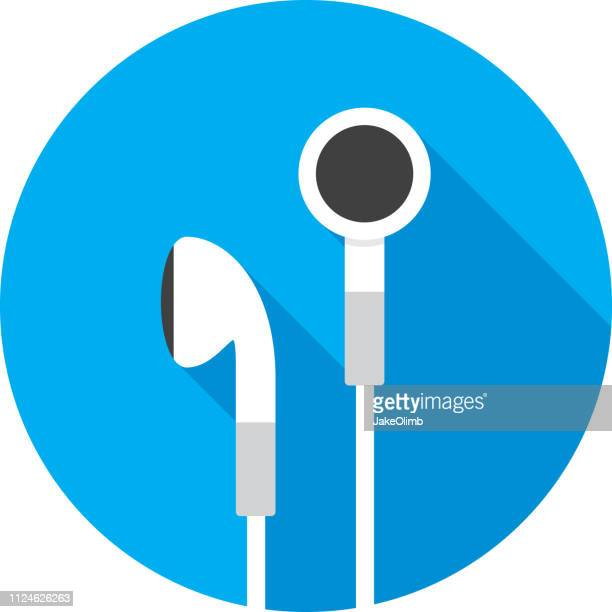 earbuds icon flat - electrical equipment stock illustrations