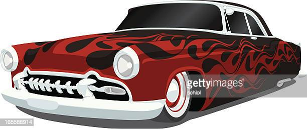 early 1950's vector hot rod - low rider stock illustrations