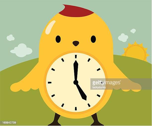 early bird / time flies / spring forward - daylight saving time stock illustrations