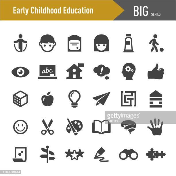 ilustraciones, imágenes clip art, dibujos animados e iconos de stock de iconos de educación infantil - big series - educacion fisica