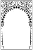 Early medieval Byzantine style round arch.
