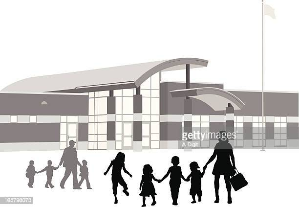 early schooling vector silhouette - elementary school building stock illustrations