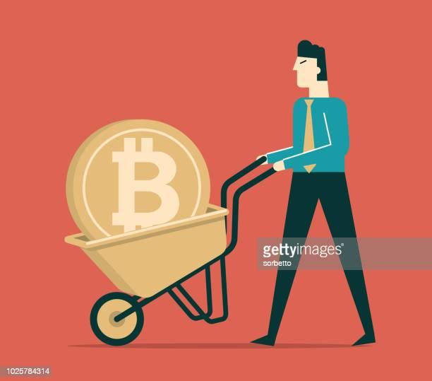 earning cryptocurrency - businessman - wheelbarrow stock illustrations, clip art, cartoons, & icons