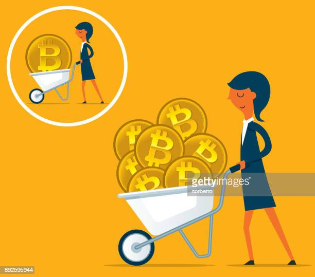 earning cryptocurrency - businesswoman - wheelbarrow stock illustrations, clip art, cartoons, & icons