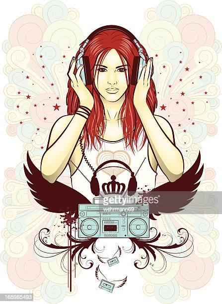 ilustraciones, imágenes clip art, dibujos animados e iconos de stock de earphonegirl - mujer escuchando musica